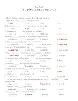 Bài tập trắc nghiệm về cụm động từ trong tiếng anh