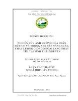 Nghiên cứu ảnh hưởng của phân hữu cơ và trồng xen đến năng suất, chất lượng giống khoai lang Nhật tím tại tỉnh Thái Nguyên