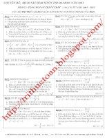 Tổng hợp các bài toán khảo sát hàm số trong các kỳ thi đại học chính thức, thi thử, dự bị từ năm 2005 đến 2013