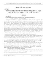 MỘT SỐ BIỆN PHÁP CHO TRẺ LÀM QUEN VÀ HỌC TỐT MÔN NBTN Ở LỨA TUỔI 24-36 THÁNG