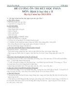 Đề cương ôn tập môn Bệnh Lý Học Thú Y 2