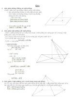 Tóm tắt toán hình học không gian lớp 11 (Góc, Khoảng cách)