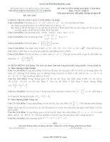 Đề thi tuyển sinh đại học môn toán khối D năm 2014 trường THPT Chuyên Lý Tự Trọng tỉnh Cần Thơ có đáp án