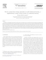 Passive annual heat storage principles in earth sheltered housing, a supplementary energy saving system in residential housing