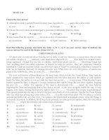 Bộ đề thi thử đại học Tiếng Anh THPT Chuyên Lý Tự Trọng, Cần Thơ (lần 2)
