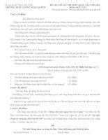 Đề thi thử THPT Quốc gia môn Ngữ văn năm 2015 trường THPT Lương Ngọc Quyến, Thái Nguyên