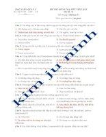 ĐỀ THI KIỂM TRA HẾT MÔN KÝ SINH TRÙNG MÃ ĐỀ 11, 12-HỌC VIỆN QUÂN Y