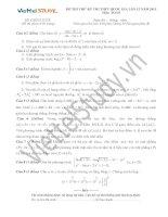 Đề thi thử môn toán kỳ thi THPT quốc gia lần 12 năm 2015