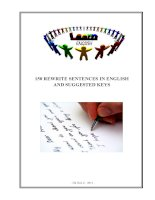 150 rewrite sentences in english  suggested keys