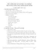 ĐỀ CƯƠNG ôn tập TIN học văn PHÒNG THI TUYỂN CÔNG CHỨC KHỐI HÀNH CHÍNH