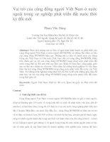 Vai trò của cộng đồng người Việt Nam ở nước ngoài trong sự nghiệp phát triển đất nước thời kỳ đổi mới