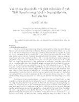 Vai trò của phụ nữ đối với phát triển kinh tế tỉnh Thái Nguyên trong thời kì công nghiệp hóa, hiện đại hóa