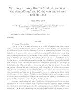 Vận dụng tư tưởng Hồ Chí Minh về cán bộ vào xây dựng đội ngũ cán bộ chủ chốt cấp cơ sở ở tỉnh Hà Tĩnh