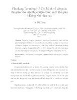Vận dụng Tư tưởng Hồ Chí Minh về công tác tôn giáo vào việc thực hiện chính sách tôn giáo ở Đồng Nai hiện nay