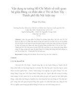 Vận dụng tư tưởng Hồ Chí Minh về mối quan hệ giữa Đảng và nhân dân ở Thị xã Sơn Tây – Thành phố Hà Nội hiện nay