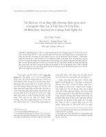 Tái định cư và sự thay đổi phương thức mưu sinh của người Đan Lai ở Tân Sơn và Cửa Rào, xã Môn Sơn, huyện Con Cuông, tỉnh Nghệ An