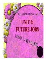 Bài giảng tiếng anh 12 unit 6 future jobs