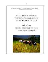 giáo trình dạy nghề cho lao động nông thôn nghề trồng lúa cạn mô đun thu hoạch, bảo quản, sử dụng lúa