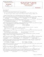 ĐỀ THI ĐH MÔN HÓA 12 HAY (ĐỀ SỐ 1)