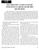 Hãy phấn đấu và rèn luyện để xứng đáng là thế hệ thanh niên Hồ Chí Minh