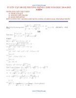100 hệ phương trình hay và khó ôn thi đại học môn toán 2015 (có đáp án kèm theo)