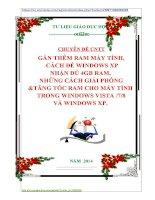 CHUYÊN ĐỀ CNTT GẮN THÊM RAM MÁY TÍNH, CÁCH ĐỂ WINDOWS XP NHẬN ĐỦ 4GB RAM,  NHỮNG CÁCH GIẢI PHÓNG TĂNG TỐC RAM CHO MÁY TÍNH TRONG WINDOWS VISTA 78 VÀ WINDOWS XP.
