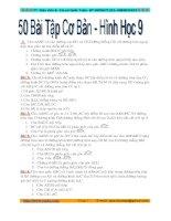 Tuyển tập 50 bài toán hình học lớp 9 cơ bản chọn lọc