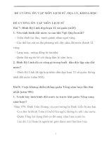 ĐỀ CƯƠNG ÔN TẬP MÔN LỊCH SỬ, ĐỊA LÝ, KHOA HỌC LỚP 4