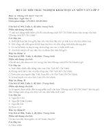 BỘ CÂU HỎI TRẮC NGHIỆM KHÁCH QUAN MÔN NGỮ VĂN LỚP 9