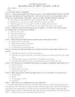 Bài kiểm tra trắc nghiệm 15 phút Ngữ văn 12