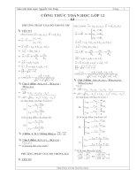 Tóm tắt công thức toán 12