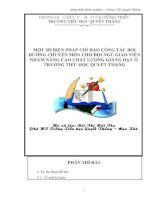 MỘT SỐ BIỆN PHÁP CHỈ ĐẠO CÔNG TÁC BỒI DƯỠNG CHUYÊN MÔN CHO ĐỘI NGŨ GIÁO VIÊN NHẰM NÂNG CAO CHẤT LƯỢNG GIẢNG DẠY Ở TRƯỜNG TIỂU HỌC QUYẾT THẮNG