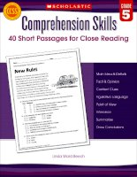 Comprehension Skills 40 Short Passages for Close Reading
