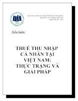 Phân tích thực trạng thuế thu nhập cá nhân tại Việt Nam và đưa ra giải pháp chống thất thu thuế
