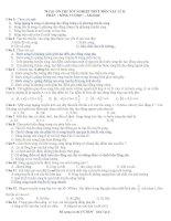 70 CÂU ÔN THI TỐT NGHIỆP THPT MÔN VẬT LÝ - PHẦN SÓNG CƠ HỌC - ÂM HỌC - CÓ ĐÁP ÁN