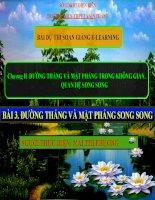 Slide tóan 11 BÀI 3. ĐƯỜNG THẲNG VÀ MẶT PHẲNG SONG SONG, QUAN HỆ SONG SONG _Thị Phương