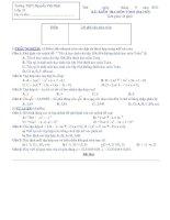 BÀI KIỂM TRA 45 PHÚT MÔN TOÁN (ĐẠI SỐ) LỚP 10