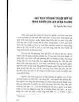 Báo cáo khoa học Khai thác, sử dụng tài liệu lưu trữ trong nghiên cứu lịch sử địa phương