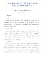 TỔNG hợp các tác PHẨM THƯỜNG XUẤT HIỆN TRONG đề THI vào lớp 10 môn văn