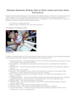 Effective business writing how to write letters and inter office documents