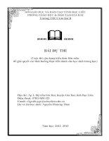 BÀI DỰ THI  (Cuộc thi vận dụng kiến thức liên môn  để giải quyết các tình huống thực tiễn dành cho học sinh trung học)