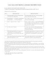 CÁC SAI lầm TRONG làm bài THI môn TOÁN (phần 2)
