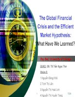 Thuyết trình tài chinh doanh nghiệp The Global Financial Crisis and the Efficient Market Hypothesis What Have We Learned