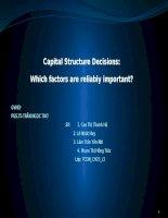 Thuyết trình tài chính doanh nghiệp Capital Structure DecisionsWhich factors are reliabiy important