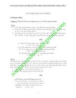 CÁC DẠNG BÀI TẬP BỒI DƯỠNG HỌC SINH GIỎI MÔN SINH LỚP 9