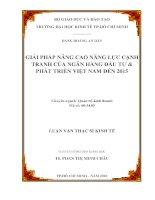 Luận văn Giải pháp nâng cao năng lực cạnh tranh của ngân hàng đầu tư và phát triển Việt Nam đến 2015