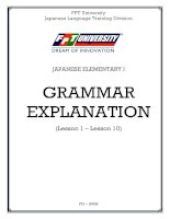 Ebook Japaneses Elementtary I- Grammar Explanation - FPT University