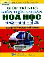 Giúp trí nhớ kiến thức cơ bản hóa học 10 - 11- 12