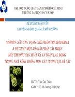 NGHIÊN CỨU ỨNG DỤNG CHẾ PHẨM TRICHODERMA & ĐỀ XUẤT MỘT SỐ GIẢI PHÁP CẢI THIỆN MÔI TRƯỜNG SẢN XUẤT VÀ AN TOÀN LAO ĐỘNG TRONG NHÀ KÍNH TRỒNG HOA CÁT TƯỜNG TẠI ĐÀ LẠT