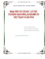 Thực trạng và giải pháp nâng cao công tác văn thư - lưu trữ của UBND xã Bình Thạnh Đông, huyện Phú Tân đến năm 2015